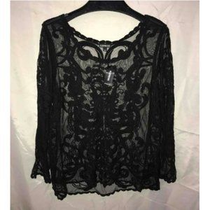 Express Black Lace Top M  NWT